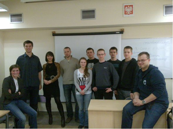 Picture: Polish students and Lower Silesian regional coordinator Natalia Janik (left)